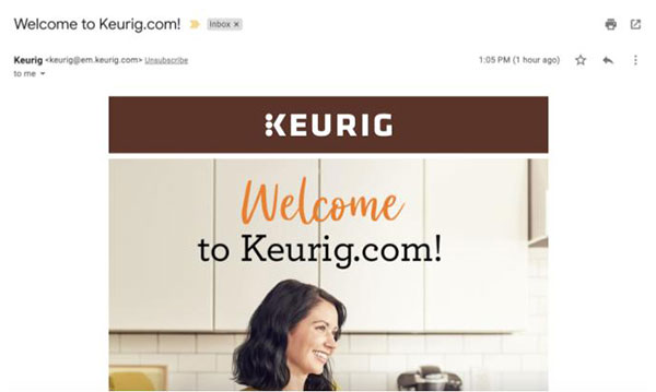 Keurig Welcome Email